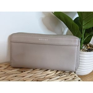 Matt and Nat taupe beige large leather wallet